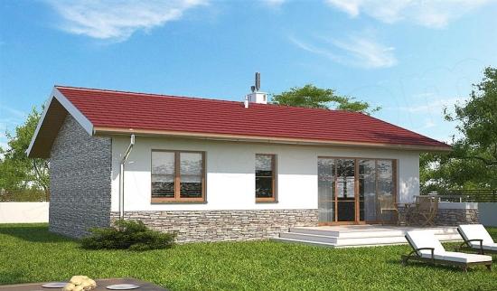 Varianta casa parter cu acoperis rosu