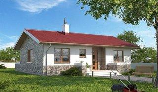 Varianta de casa cu acoperis rosu si tamplarie din lemn