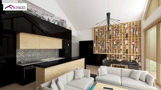 Bucatarie cu bar - varianta delimitare de living