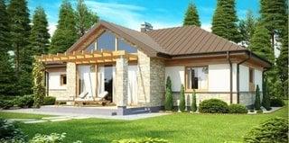 Proiect de casa cu stalpi la intrare placati cu piatra