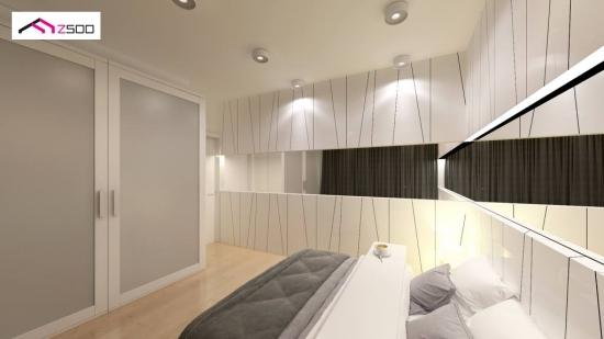 Varianta amenajare dormitor mic cu mobila alba