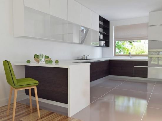 Bucatarie minimalista cu mobila in forma de C
