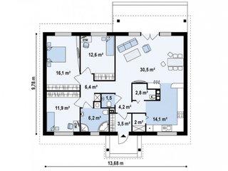 Plan parter casa cu 3 dormitoare living si bucatarie