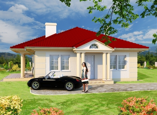 Proiect casa doar parter cu arhitectura clasica