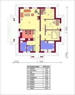 Plan parter casa cu trei dormitoare