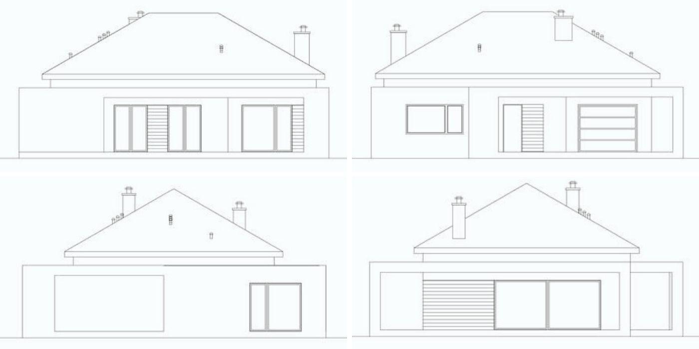 Elevatie fatada 3D casa cu parter 123 mp