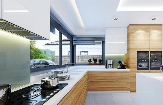 Bucatarie moderna cu mobilier din lemn