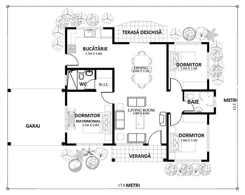 Plan casa cu parter cu suprafata utila de 90 metri
