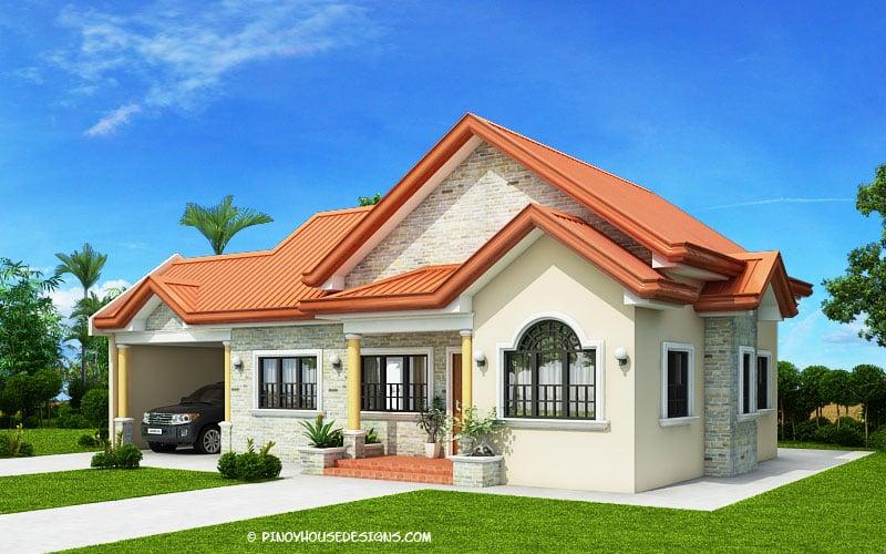 Casa de vis pe un singur nivel, cu piatra decorativa si caramida - are suprafata 90 mp utili