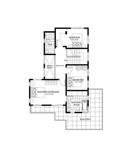 Plan etaj casa cu 3 dormitoare