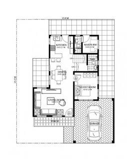 Plan parter cu bucatarie dining living 2 bai si 2 dormitoare