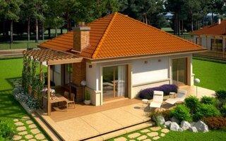 Casa mica parter cu pergola din lemn lipita pe lateral
