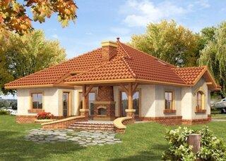 Casa cu parter si terasa cu gratar zidit din caramida