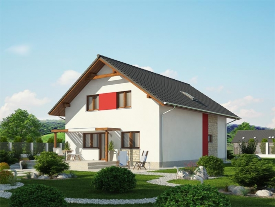 Casa cu arhitectura simpla cu mansarda