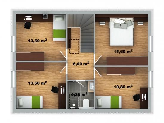Plan mansarda cu 4 dormitoare