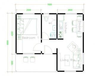 Plan casa parter 42 mp