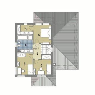 Plan etaj casa cu 5 dormitoare