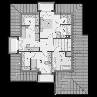 Plan casa cu etaj mansardat