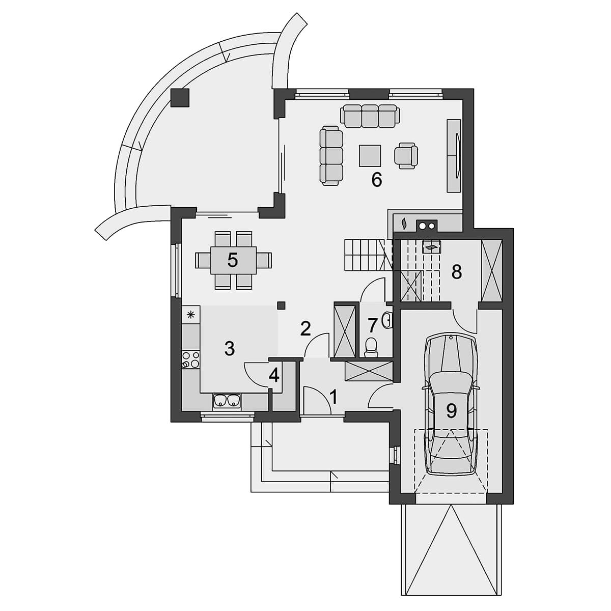 Plan parter casa cu mansarda 80 mp