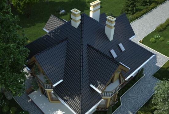 Casa cu acoperis in 4 ape si 4 balcoane