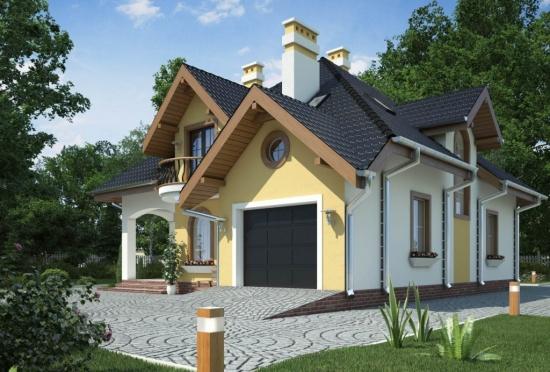 Casa cu fatada in doua culori