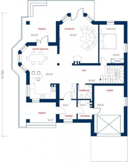 Plan casa cu mansarda parter cu living foarte mare si dormitor