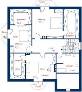 Plan etaj cu 3 dormitoare si dressinguri