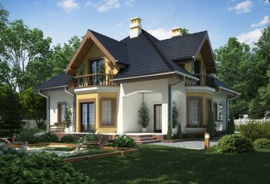 Proiect casa mansarda si 3 balcoane
