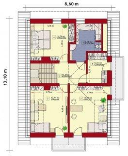 Etaj casa latime 8.60 metri si 3 dormitoare