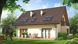 Model de casa cu mansarda si terasa  neacoperita