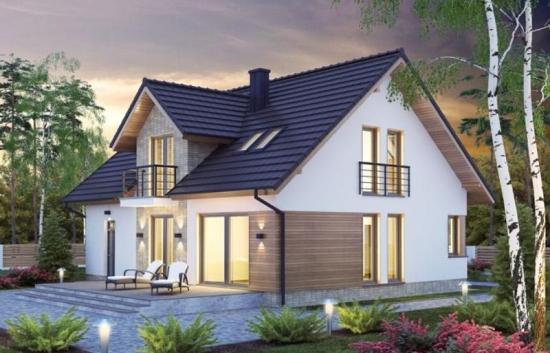 Proiect de casa unifamiliala cu mansarda si garaj incorporat