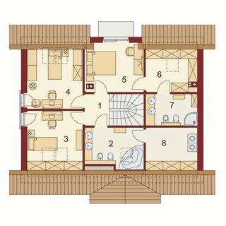 Plan mansarda casa cu 5 camere si balcon