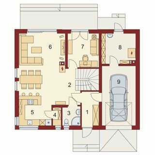 Plan parter casa cu 4 dormitoare si balcon