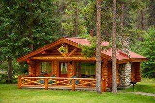 Cabana lemn rotund cu 1 dormitor