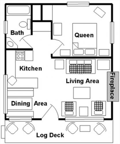 Plan cabana din lemn cu 1 dormitor