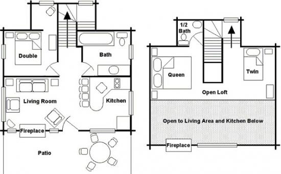 Plan parter si etaj cabana din busteni 3 dormitoare