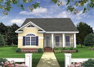 Proiect 1 Casa parter cu 2 dormitoare elevatie fata