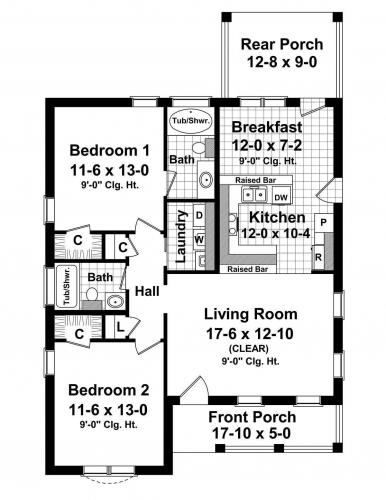Proiect 1 plan casa parter cu 2 dormitoare living si bucatarie
