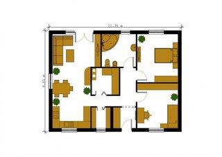 Proiect 2 plan parter casa cu amprenta de 11 pe 9