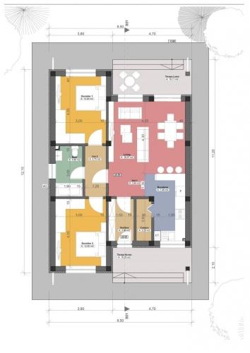 Proiect 3 casa cu 2 dormitoare si o baie