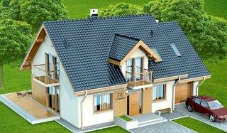 Casa cu acoperis gri inchis si elemente din lemn