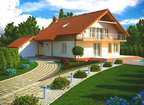 Casa cu balcon pe toata suprafata fatadei