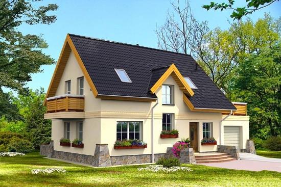 Casa modesta cu terasa deasupra garajului