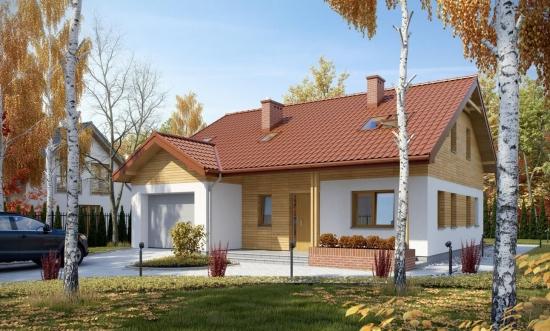 Casa pe structura din lemn cu acoperis in doua pante
