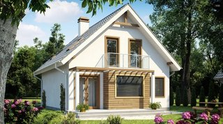 Model de casa P + M cu bovindou la parter