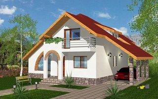 Model de casa cu acoperis in doua ape prelungit deasupra carportului
