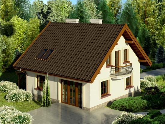 Model de casa cu fatada alba si acoperis maro inchis