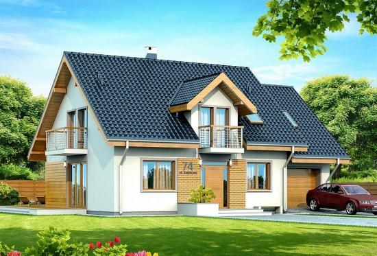 Proiect de casa cu lucarna si balcon