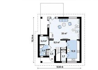 Parter casa cu amprenta 9.5 pe 10 metri proiect 2
