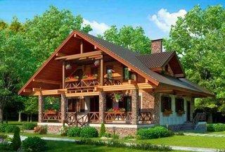 Etaj de lemn si elemente decorative fatada din klinker